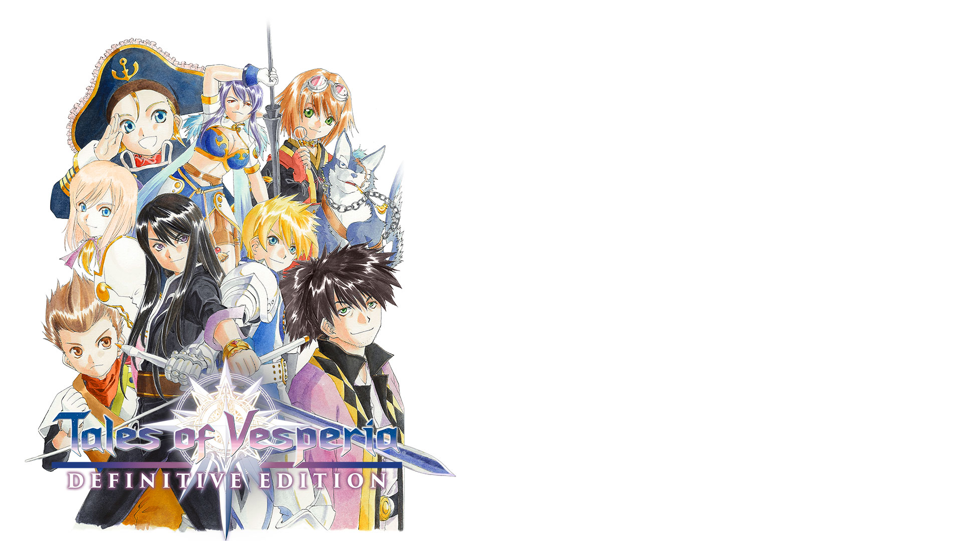 Tales of Vesperia: Definitive Edition, Group of playable characters huddled close together.