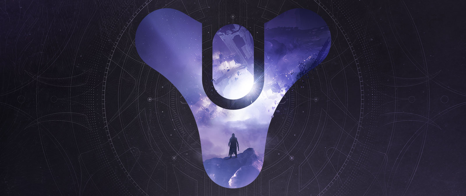 Destiny logo, A guardian stands on debris as a piece of the Reef falls apart