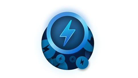 Blue lightning bolt logo