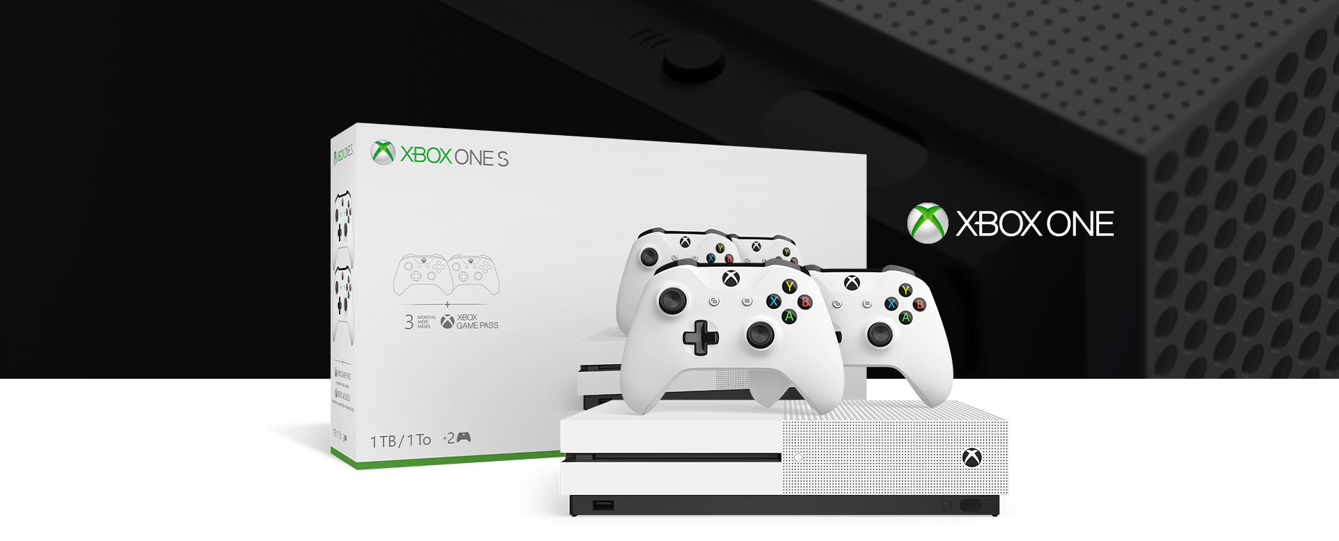 Xbox One S console in front of a hardware bundle box, featuring a close-up of the console