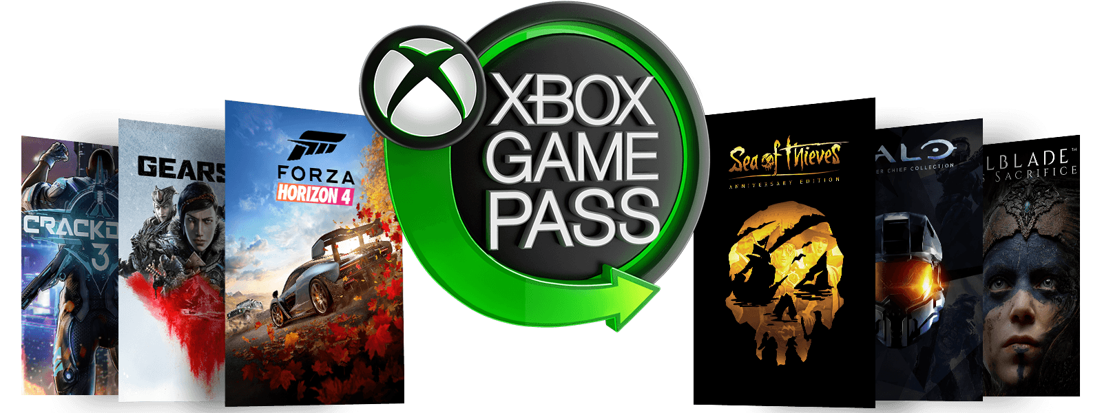 Přebaly her Sea of Thieves, PlayerUnknowns Battlegrounds, Forza Horizon 4, Crackdown 3, Halo The Master Chief Collection a Hellblade: Senua's Sacrifice obklopující zelené neonové logo Xbox Game Pass