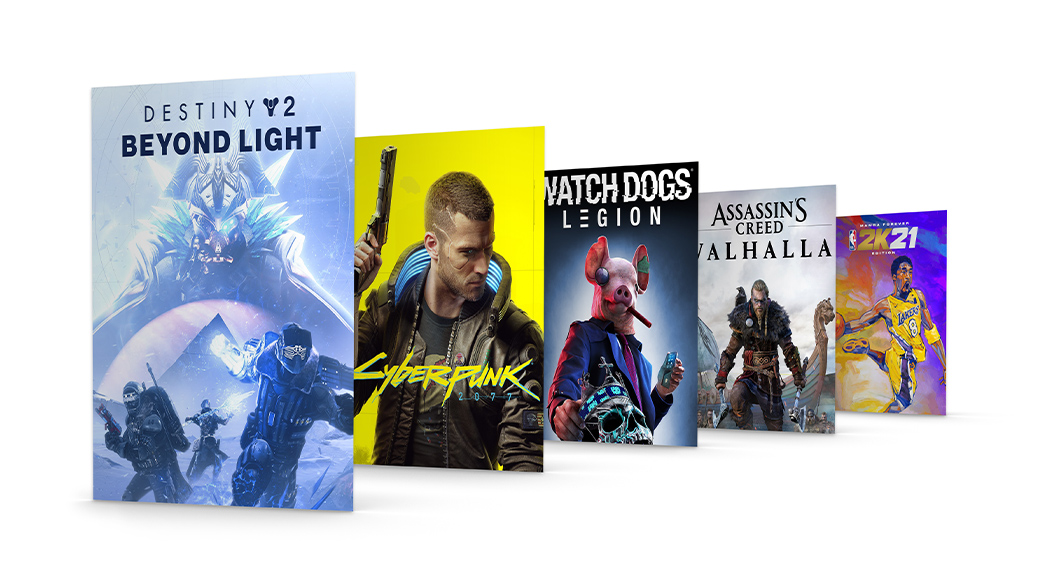 En samling coverbilder for Xbox-spill, inkludert Destiny 2: Beyond Light og Cyberpunk 2077