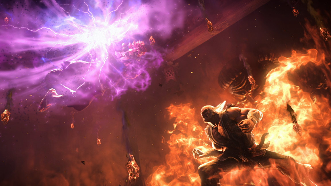 Akuma and Heihachi in the heat of battle