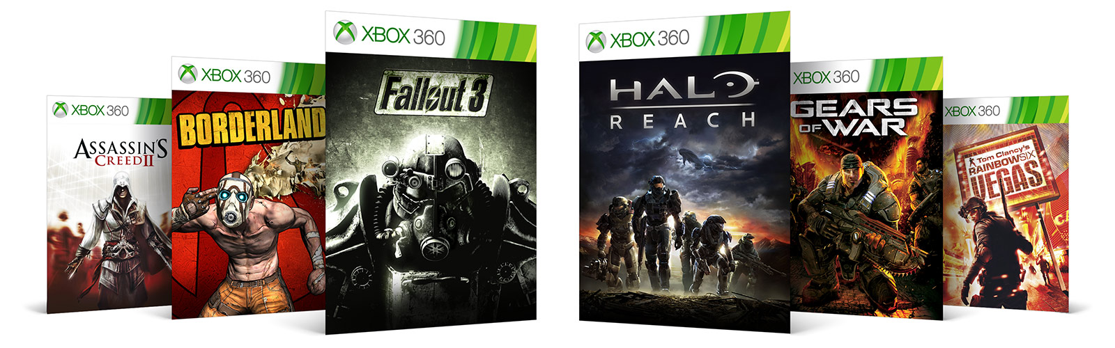 Xbox 360 games lined up behind each other, diagonally to the left and right