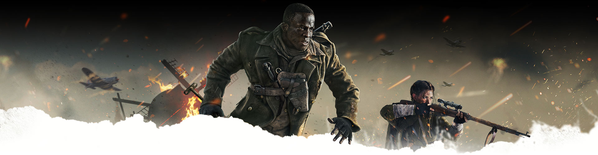 A character running and another character with a gun while many planes fly above them as debris comes down