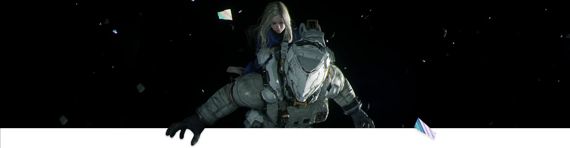 A girl rides on an astronaut through space