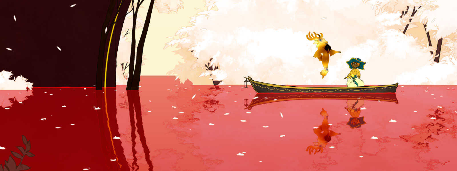 Two characters on a boat with one floating, pink water and white trees and leaves