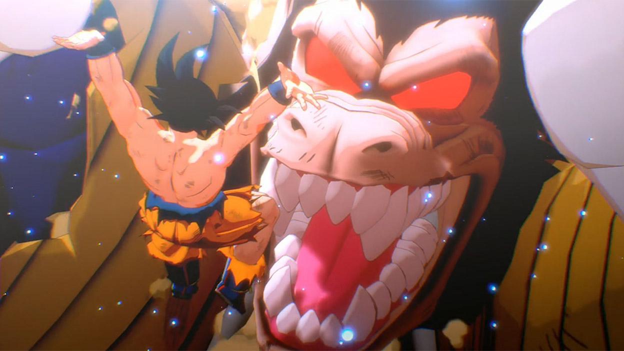 Goku fait une chute libre vers un monstre-singe géant.