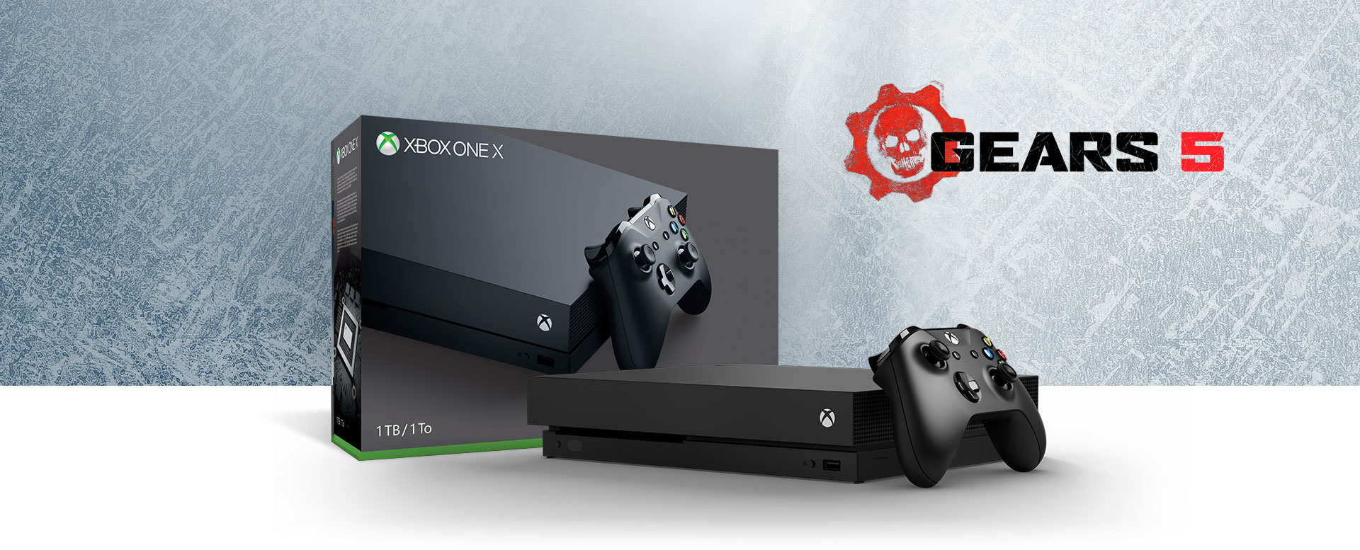 Xbox One X console in front of a hardware bundle box featuring Gears 5 art