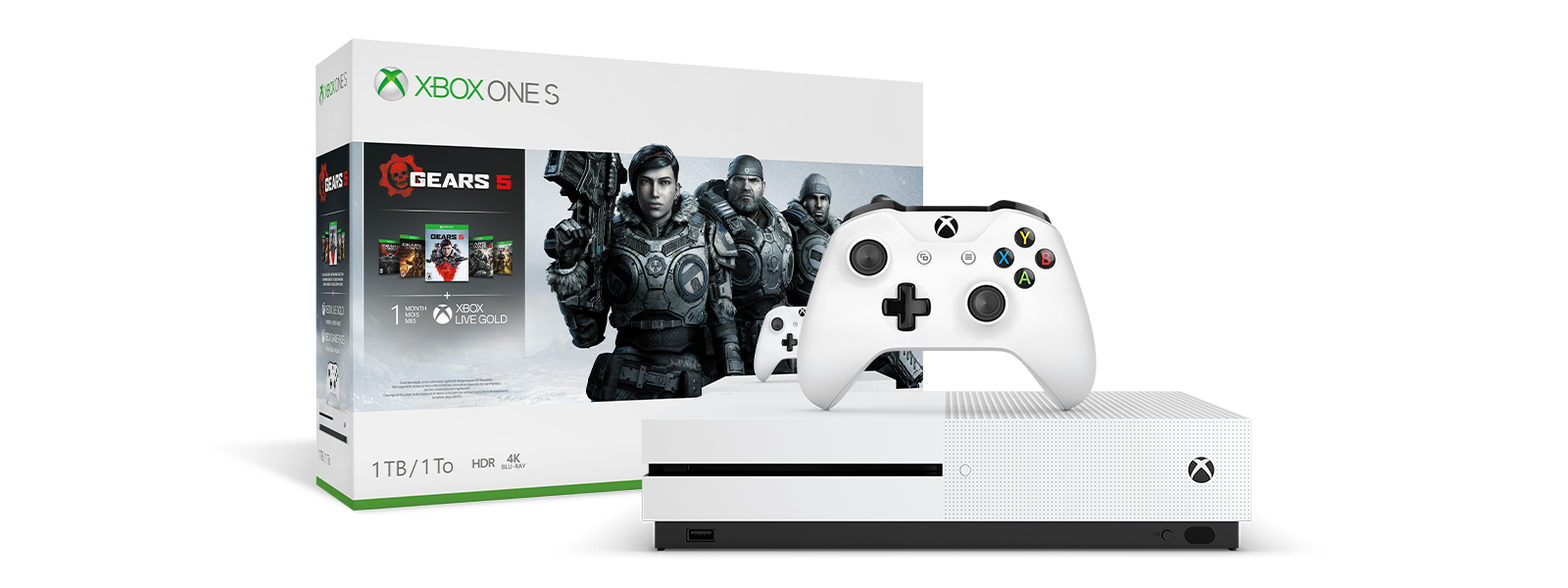 Xbox One S Gears 5 Bundle product box and Xbox One S