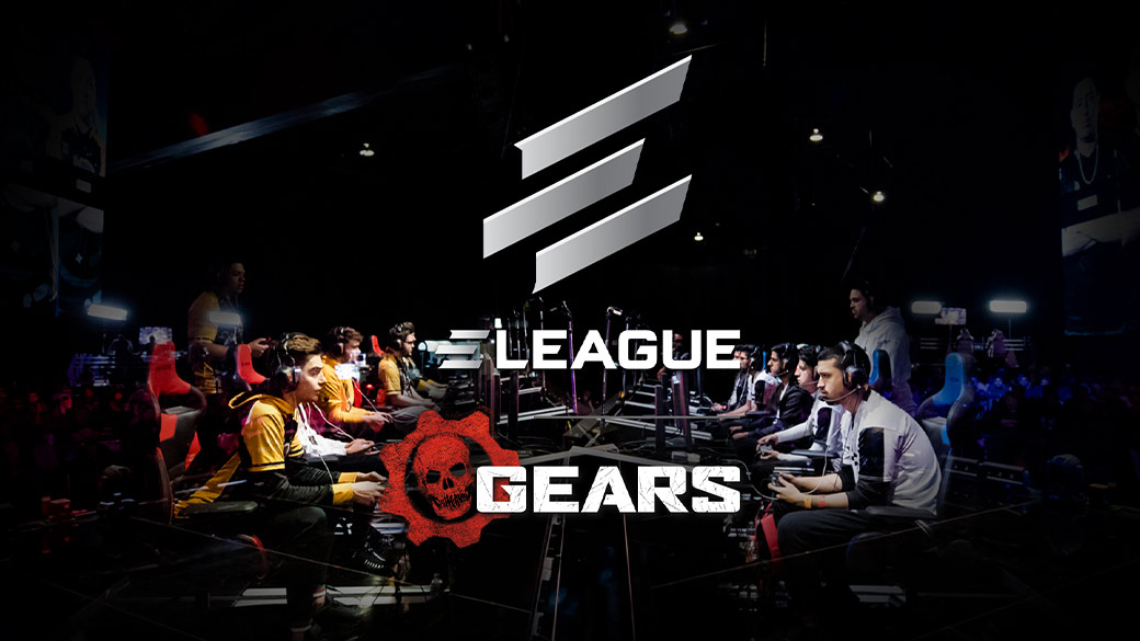 Logo reading e league gears over a photo of two rows of gamers at an esports event