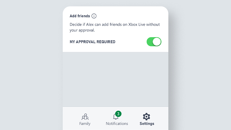 Xbox Family Settings app UI screenshot for friend management settings.