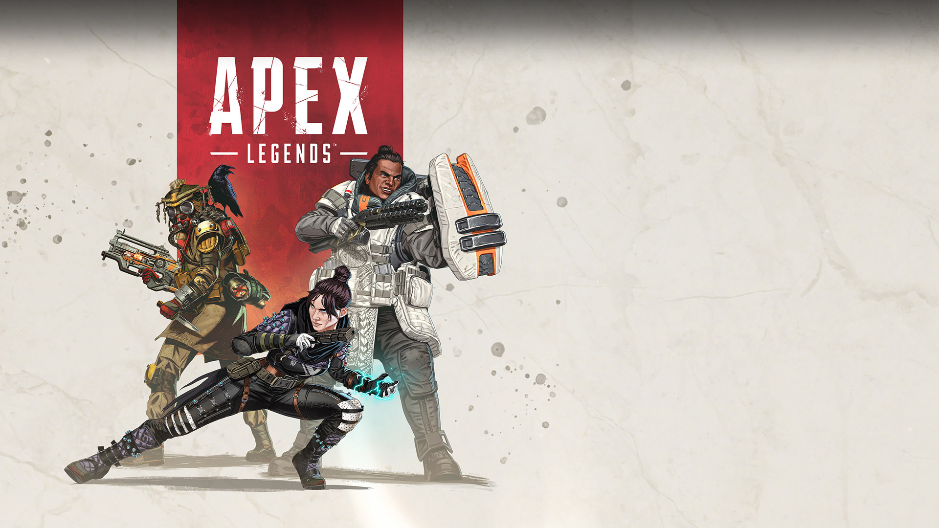 Apex Legends, three character classes strike battle poses.