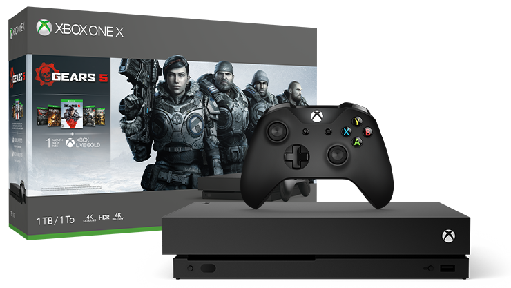 Xbox One X Gears 5 bundle next to the console box featuring Gears 5 art