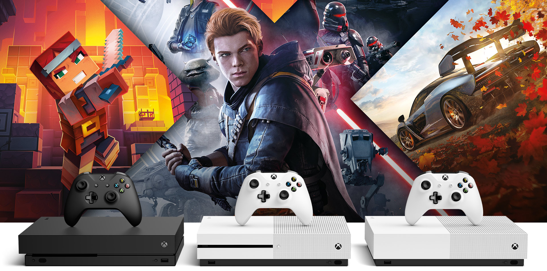 Xbox One X, Xbox One S and Xbox One S All-Digital in front of Forza, Minecraft, and Star Wars art