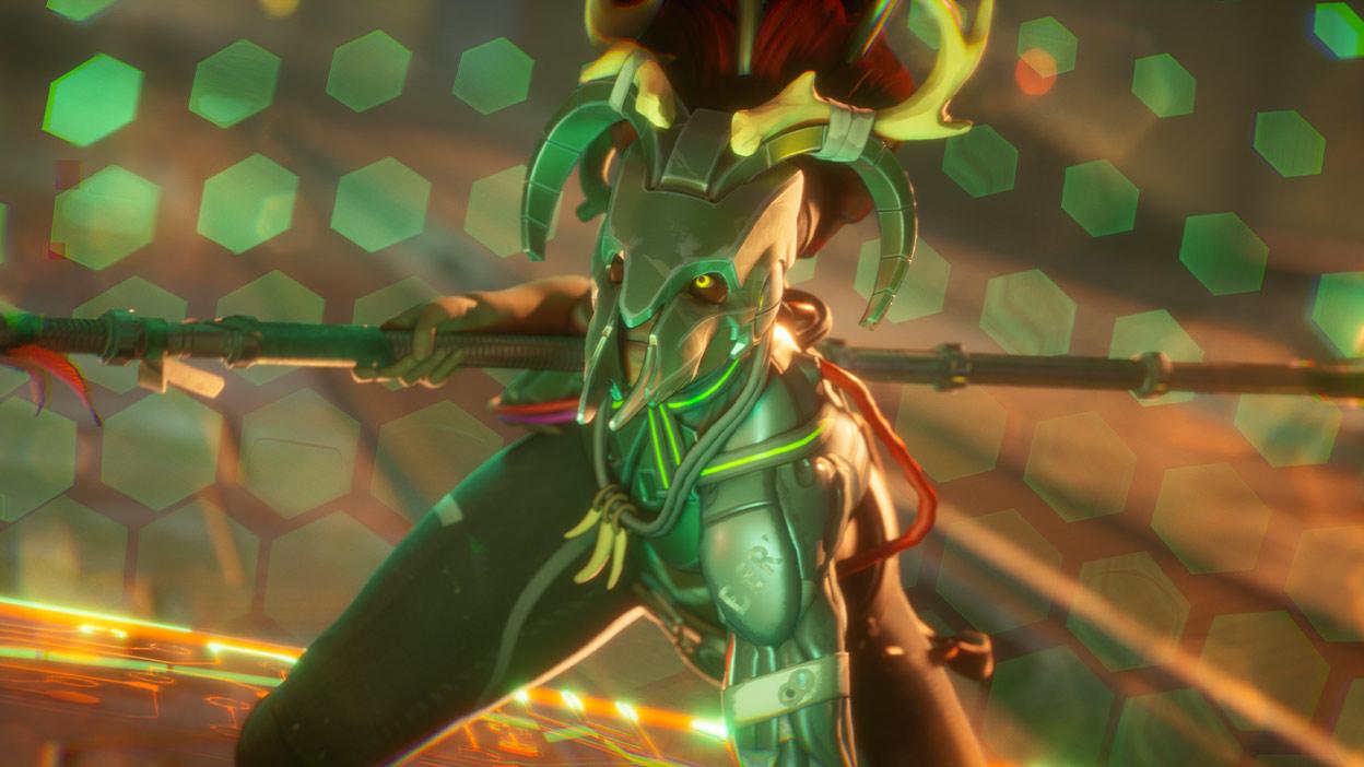 Elinde bir asa tutan, tamamen yeşil maskeli Miko adlı karakter