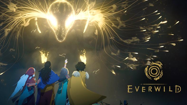 Fyra karaktärer med mantlar som står under en himmel fylld av magi.