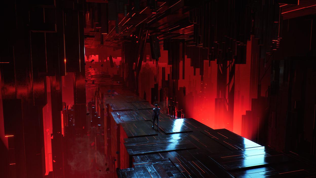 Nara kráča po moste z lesklého čierneho materiálu.