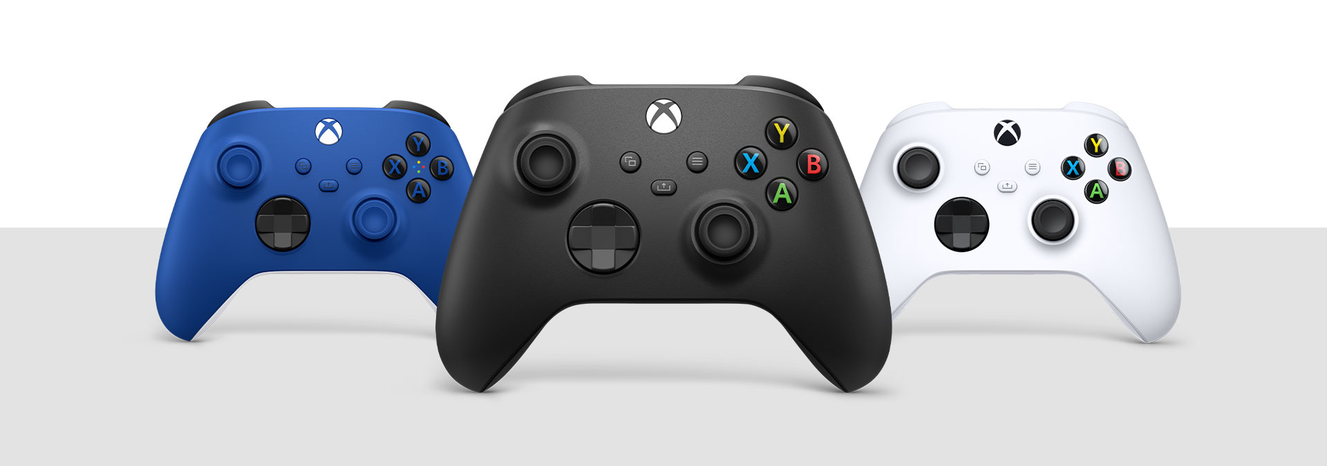 Xbox Wireless Controller Carbon Black, Robot White, and Shock Blue