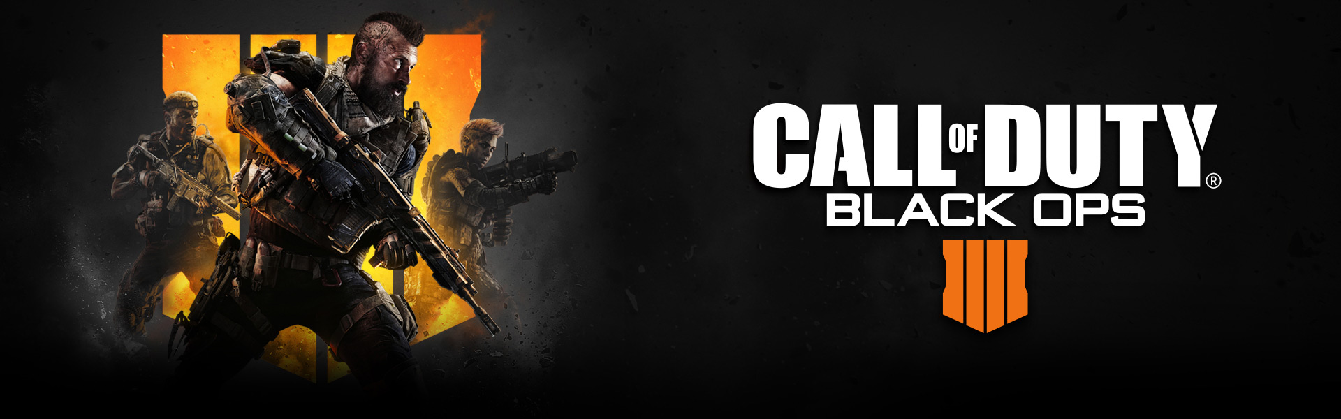 Logo Call of Duty Black Ops 4, tri postavy so zbraňami