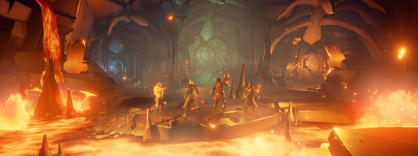 Fire karakterer fra Sea of Thieves i en grotte med lava