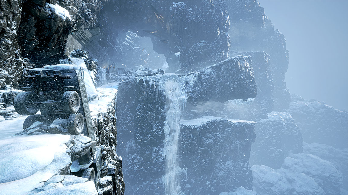 View of icy playable area
