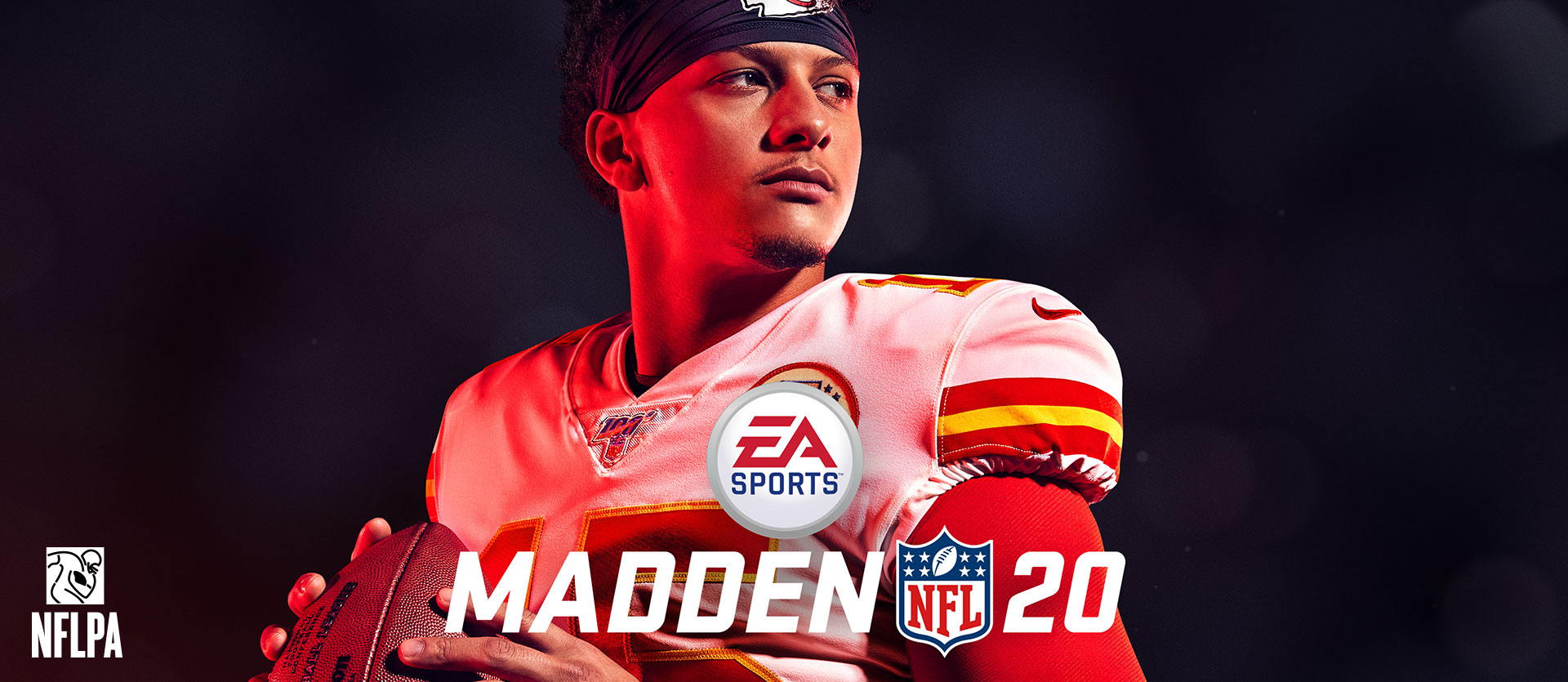 Madden NFL 20, logotipo de la NFLPA, jugador de fútbol americano con el equipo completo sombreado en rojo