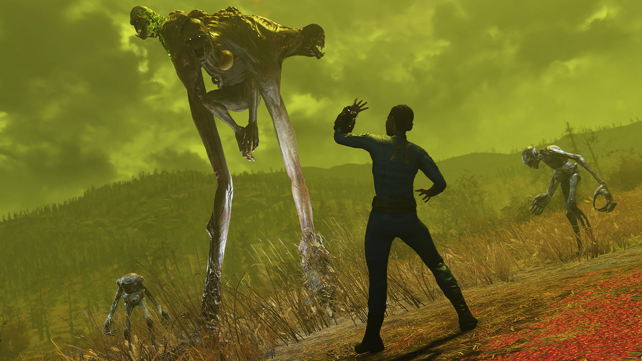 A large mutated creature with three faces looks down at a petrified vault dweller