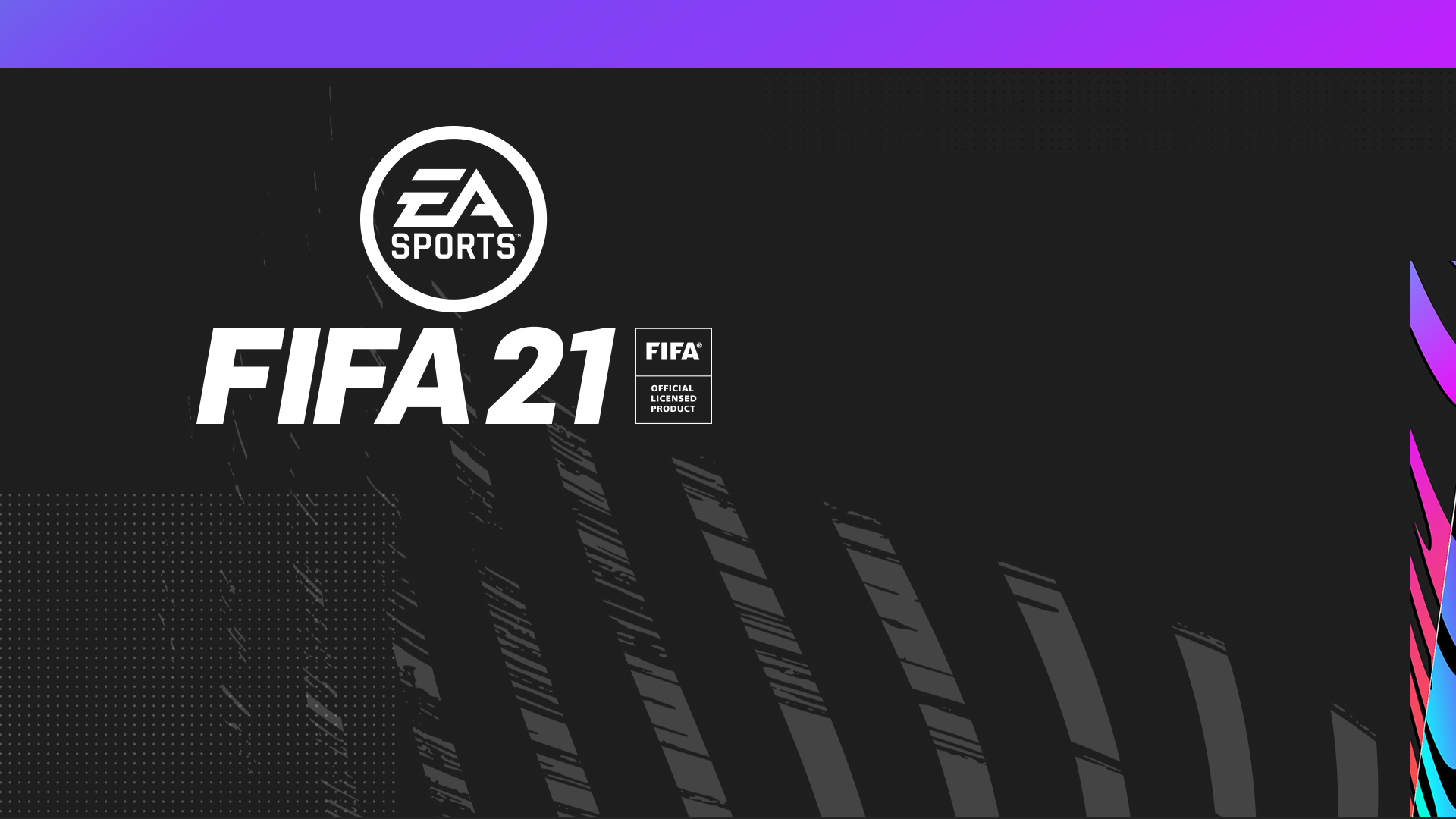 EA Sports logo, FIFA 21, FIFA Official Licensed Product, stiliserte grå, rosa, lilla og blå striper og prikker