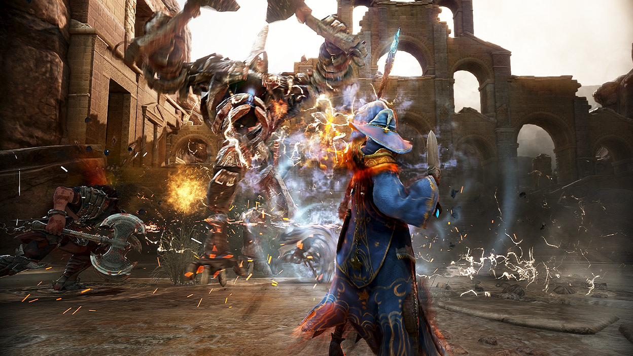 A character shoots magic lightning at a large monster in battle.