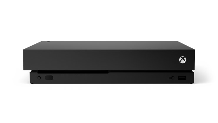 Front view of an Xbox One X 1 terabyte