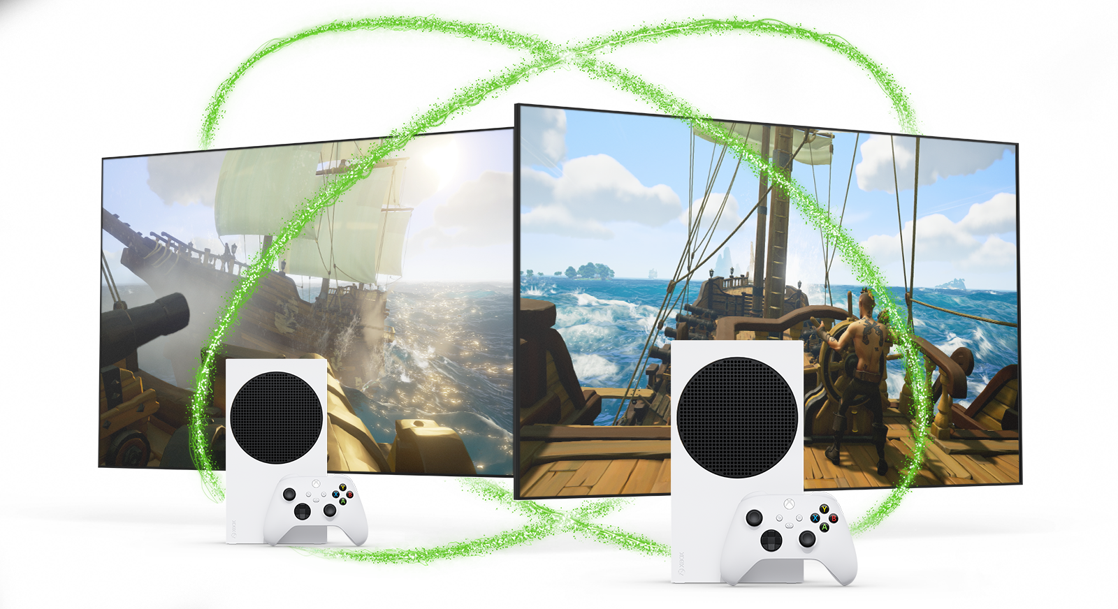 Xbox Series S consoles pictured with two screens depicting Sea of Thieves gameplay