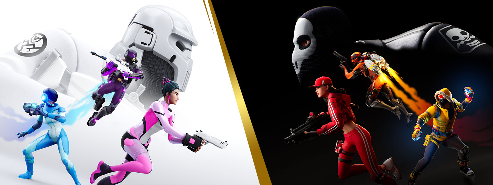 Two opposing Fortnite teams face each other in Spy skins.