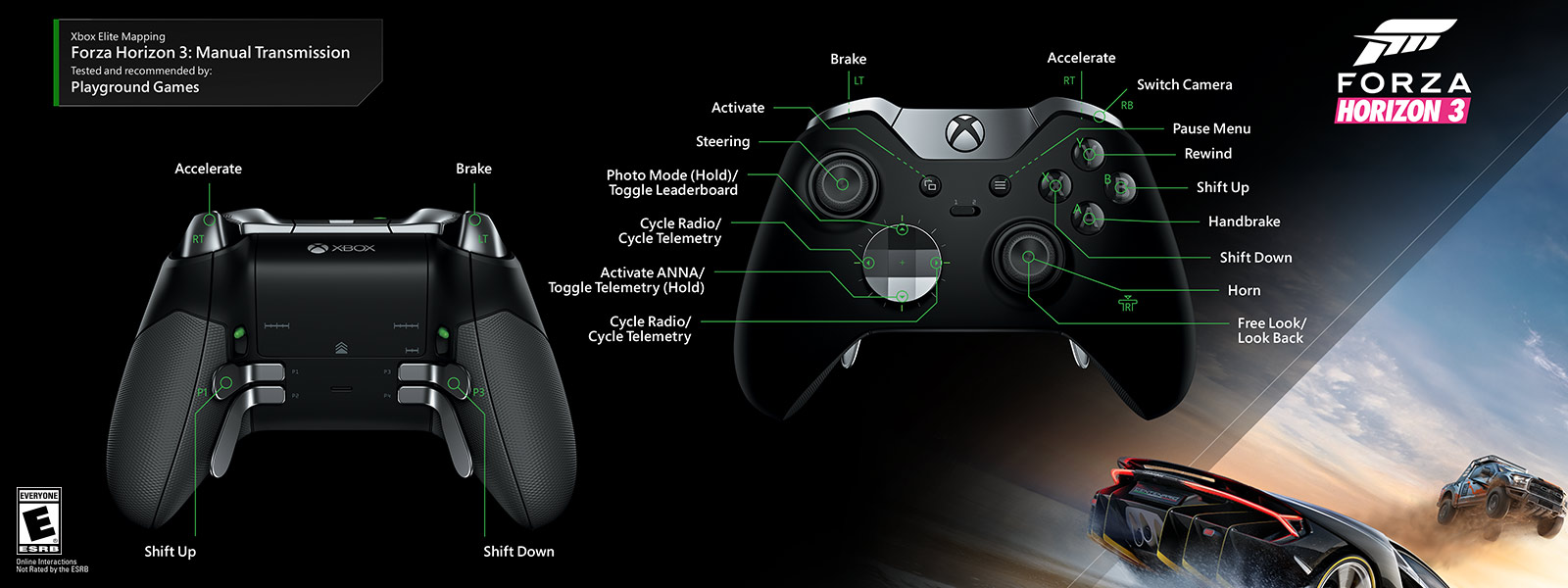 Xbox Elite Wireless Controller One 360 Usb Wiring Diagram Forza Horizon 3 Manual Transmission Mapping
