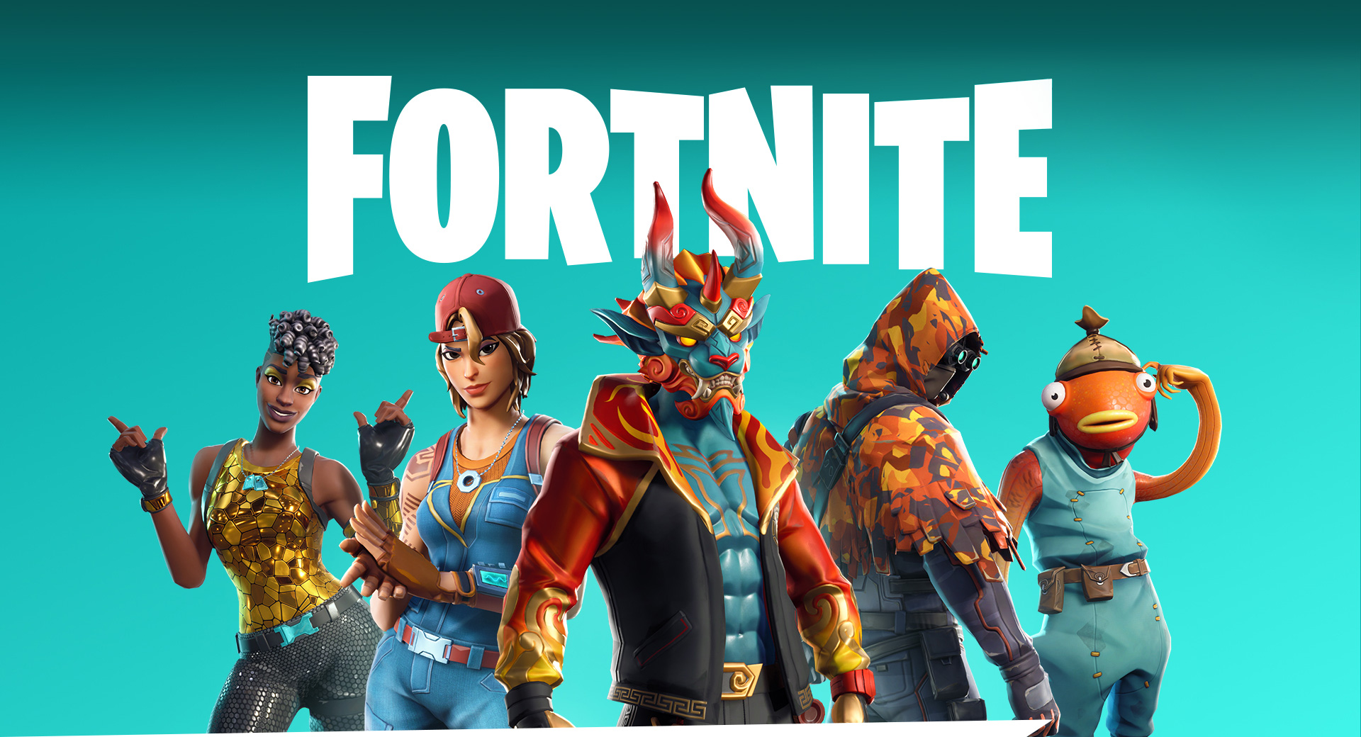 Guida a Fortnite di Xbox: 5 personaggi di Fortnite in piedi davanti al logo di Fortnite