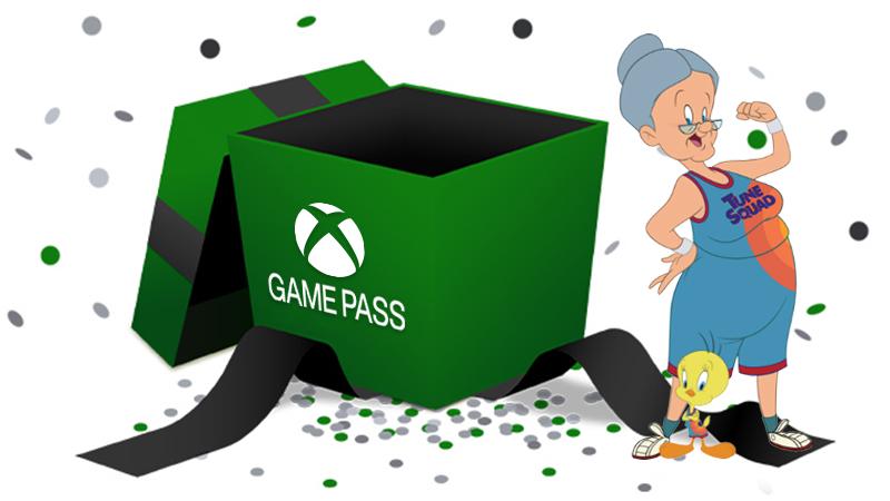 Grüne Geschenkbox mit Xbox Game Pass-Logo und Granny und Tweety in Tune Squad-Uniform