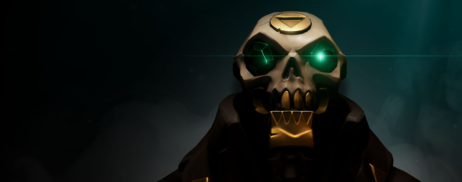 Skull from Sea of Thieves with green gems as eyes