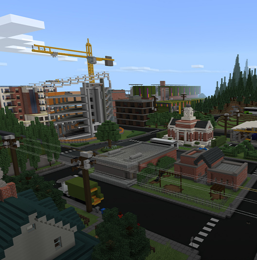 A Minecraft cityscape integrating green spaces and modest architecture.