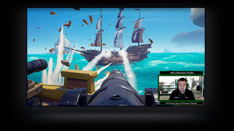 En tv som visar en Sea of Thieves-stream