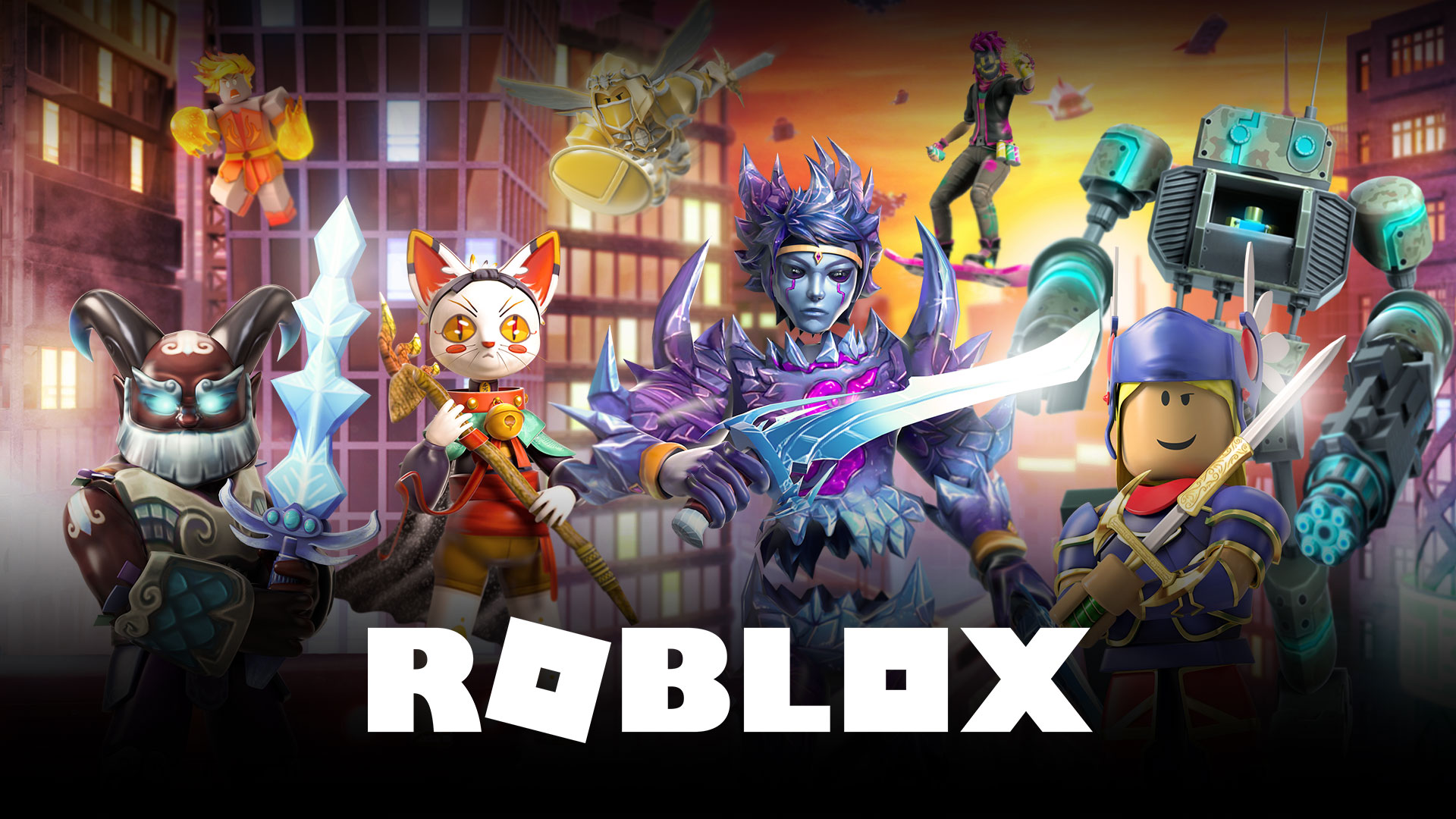 Several characters from Roblox posing