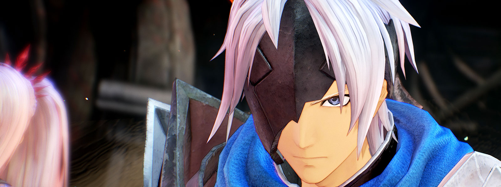 Male character with white hair and a black mask covering his right eye and half of his face with blue clothing and armour