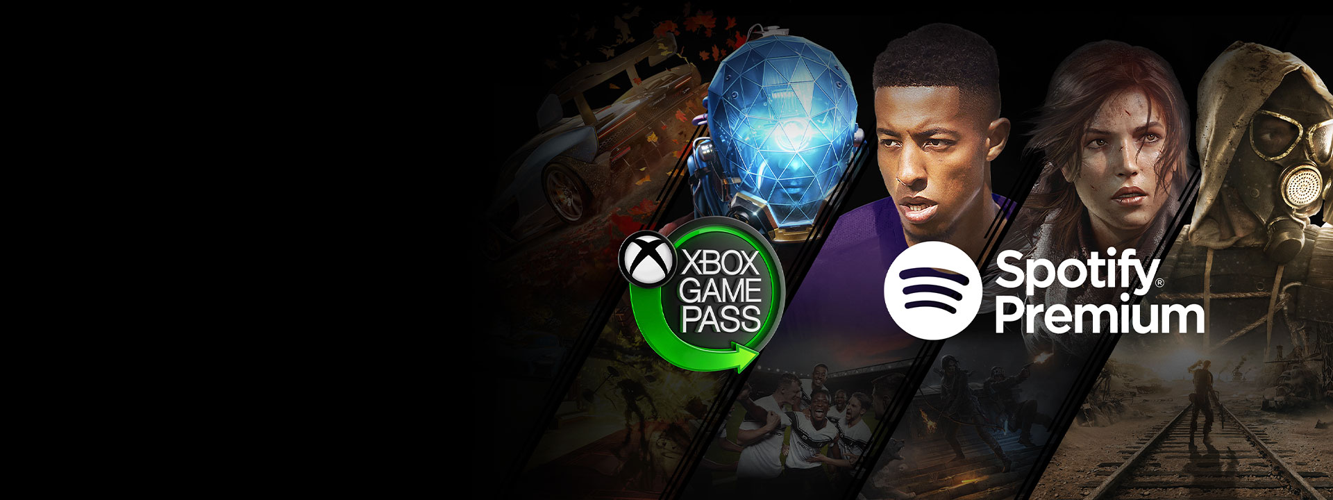 Xbox Game Pass logo and Spotify Premium logos over a collage of Windows 10 PC games including Forza Horizon 4, Prey, Football Manager 2019, Rise of the Tomb Raider, and Metro Exodus.
