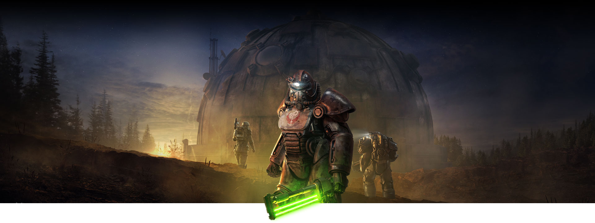 Character in Power Armour holds a glowing melee weapon in front of a large dome building