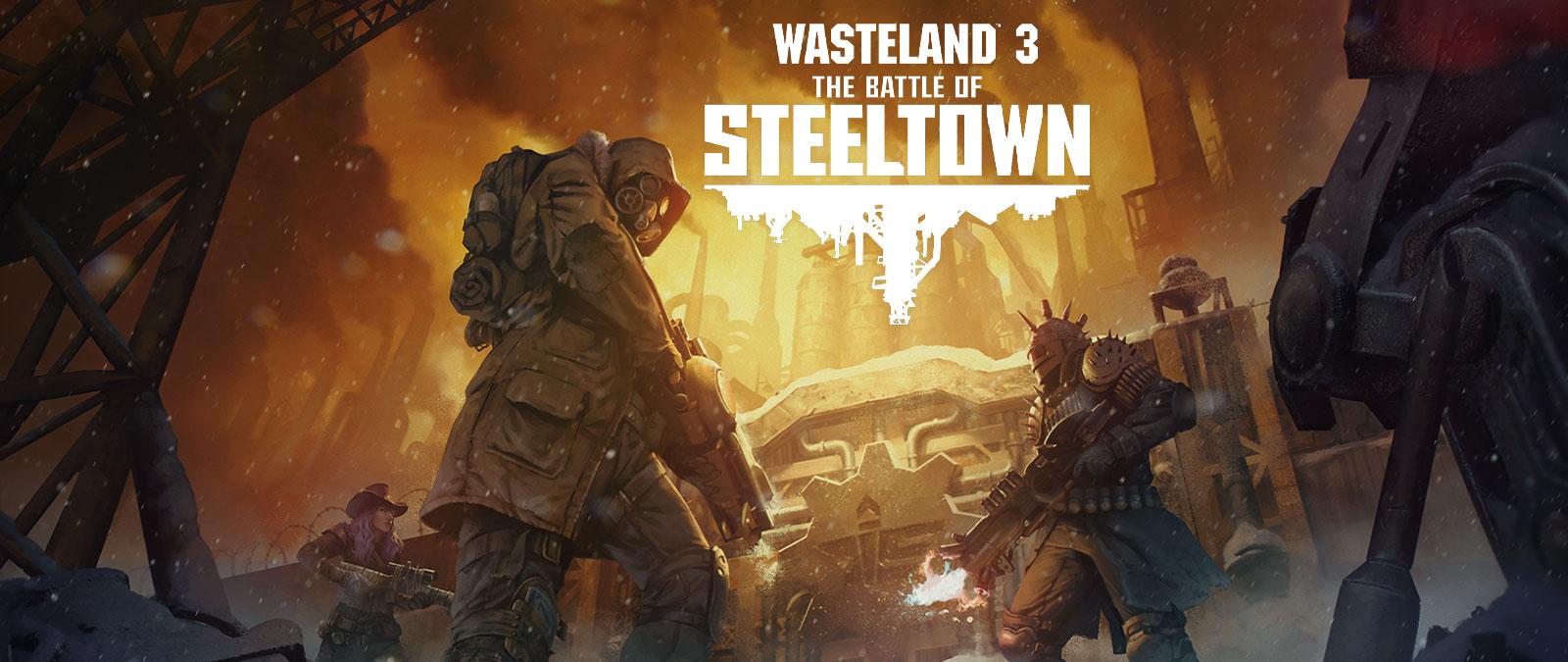 Wasteland 3: The Battle of Steeltown. Kolme haarniskoitua ja aseistautunutta hahmoa oven edessä, taustalla teollisuusalue
