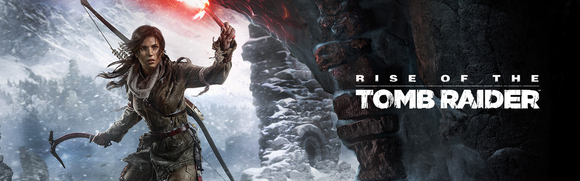 Rise of the Tomb Raider Hero, front view of Lara Croft entering a frozen tomb wielding a flare and ice axe