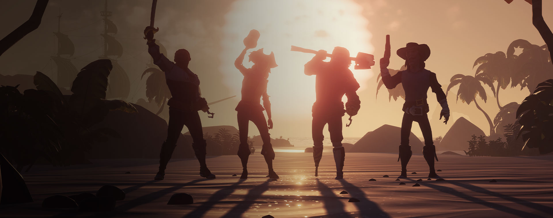 Four characters from Sea of Thieves posing in front of a sunset