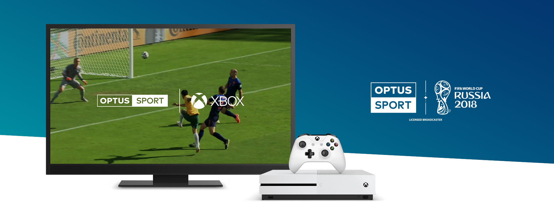Optus on Xbox One - Optus Sport logo and game scene on TV screen behind a console