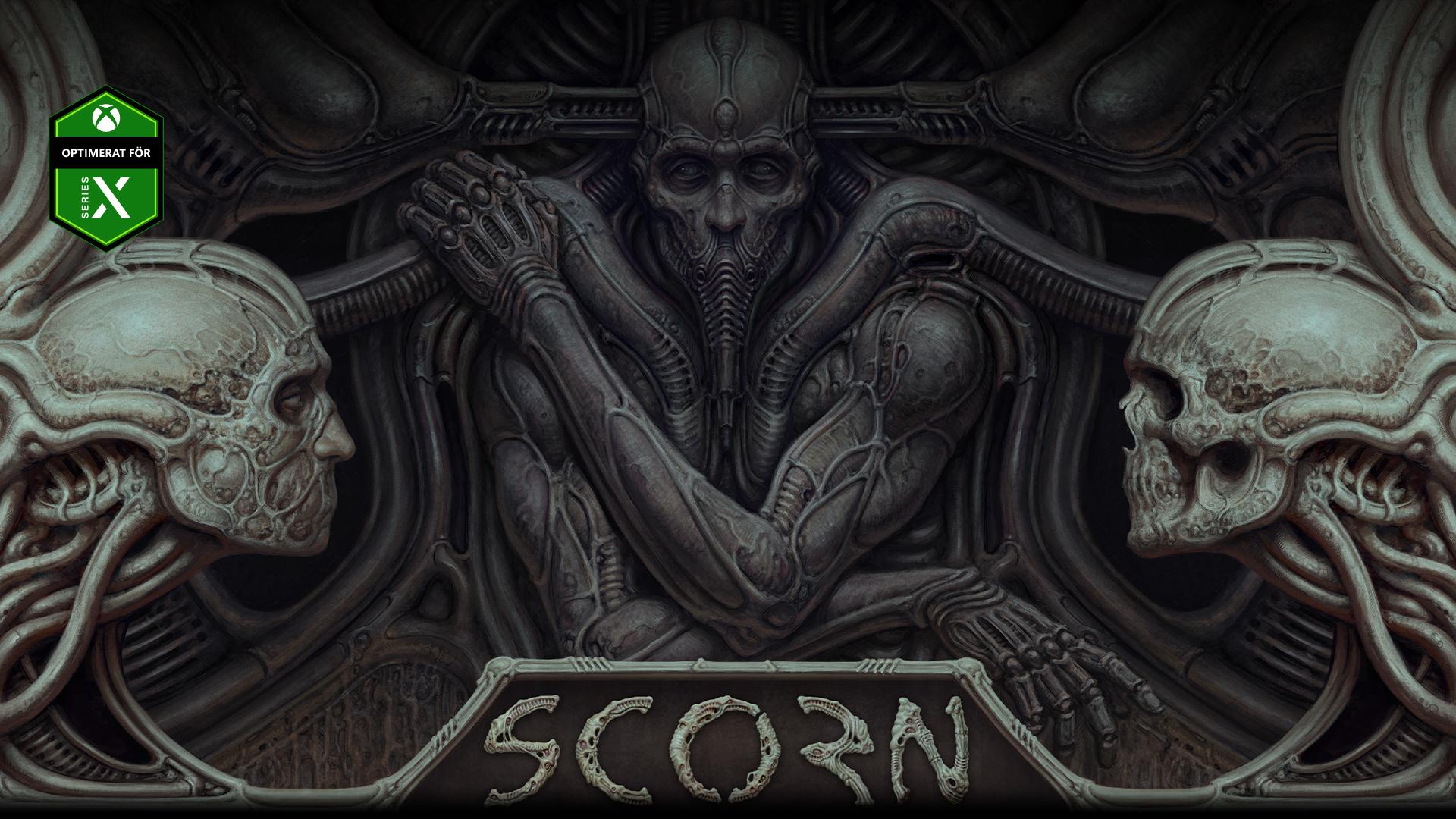 En karaktär från Scorn inbäddad i en vägg med två dödskallar.