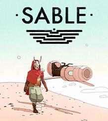 Logo Sable, Sable nel deserto con una hoverbike