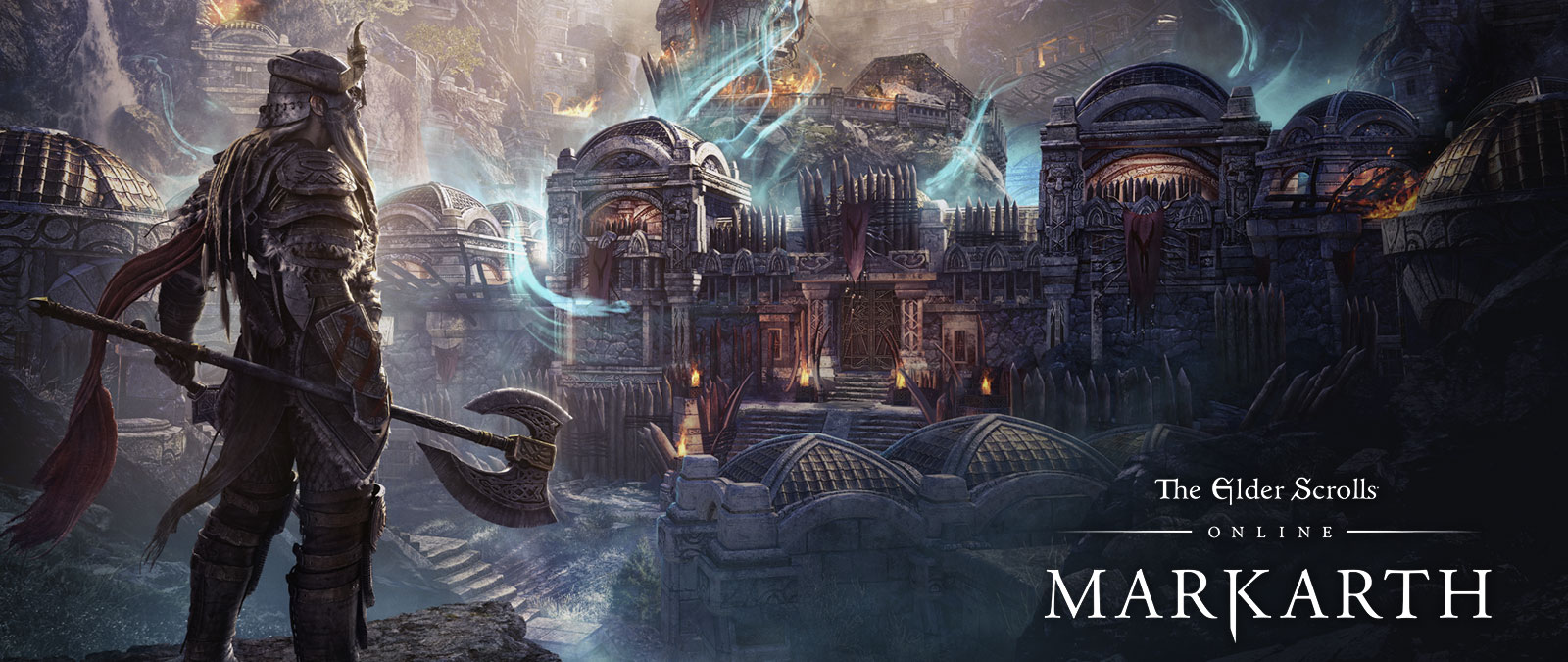 The Elder Scrolls Online Markarth. A character with armour stands with an axe looking at a city